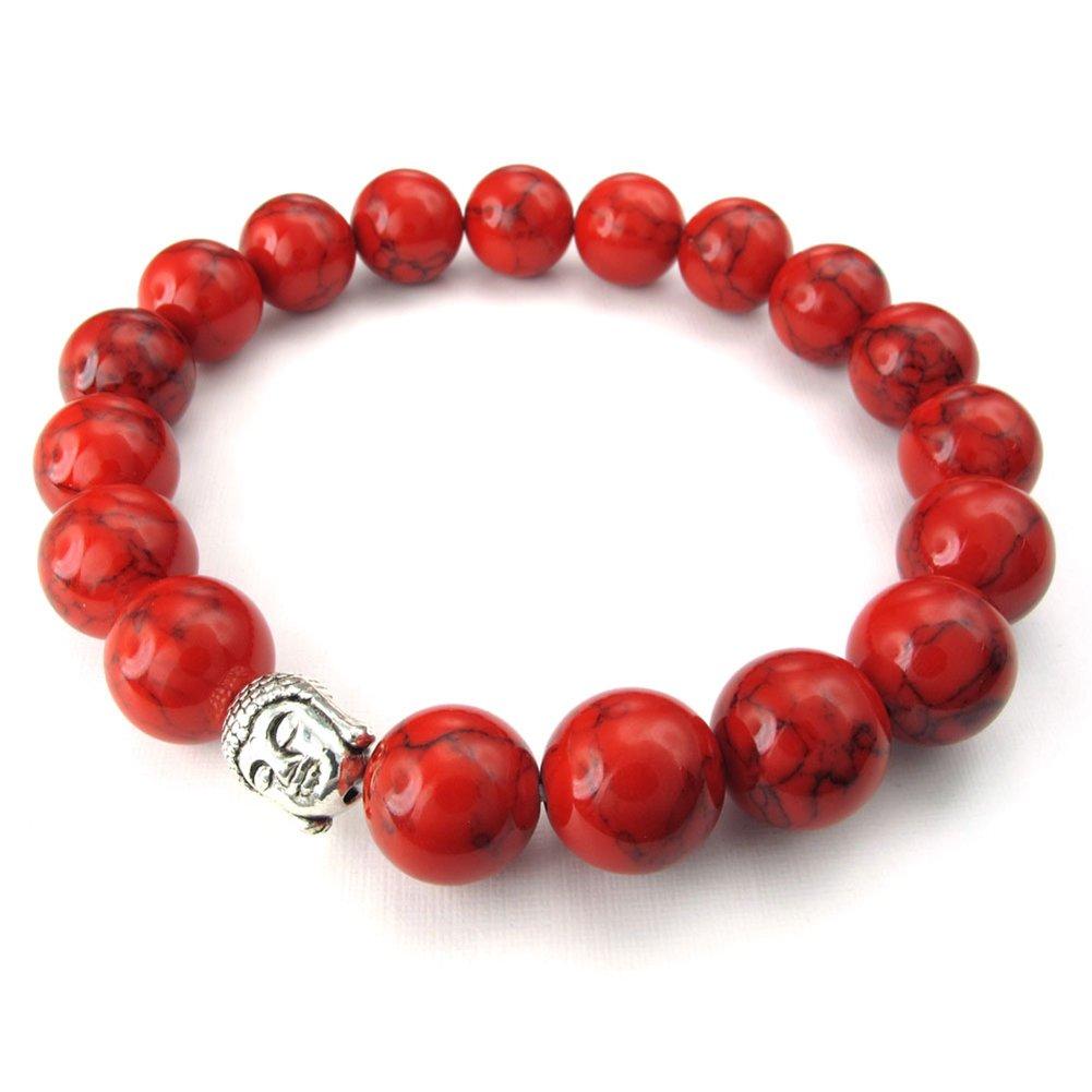 TEMEGO Jewelry Womens Mens Natural Energy Stone Classic Beads Stretch Bracelet, Link Wrist Buddha Mala Bracelet, Red Silver,10-12mm 201500024