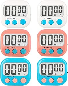 MerVeilleux Digital KitchenTimer Strong Magnetic Electronic Timers for Cooking Classroom Small Timer for Kids Teachers Big Digits Loud Alarm with Stand (6 Pack (White Blue Pink))