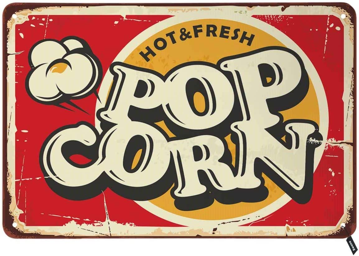 Swono Hot and Fresh Popcorn Tin Signs,Retro Popcorn Sign Food and Snacks Vintage Metal Tin Sign for Men Women,Wall Decor for Bars,Restaurants,Cafes Pubs,12x8 Inch