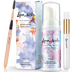 Eyelash Extension Shampoo 60ml + Brush + Mascara Wand - Lyon Lash Eyelid Foam Cleanser/Gentle Formula for Sensitive people/Paraben & Sulfate Free/Remove Eye Makeup & Oil & Dust/For Salon and Home Use