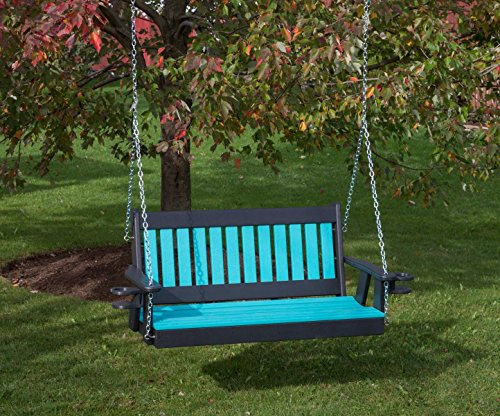 5FT-ARUBA BLUE-POLY LUMBER Mission Porch Swing with Cupholder arms Heavy Duty EVERLASTING PolyTuf HDPE - MADE IN USA - AMISH CRAFTED