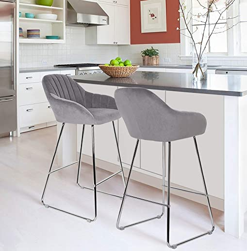 sunseen Velvet Barstools Home Bar Chairs Modern Upholstered Velour Counter Height Chair Side Dining Chairs