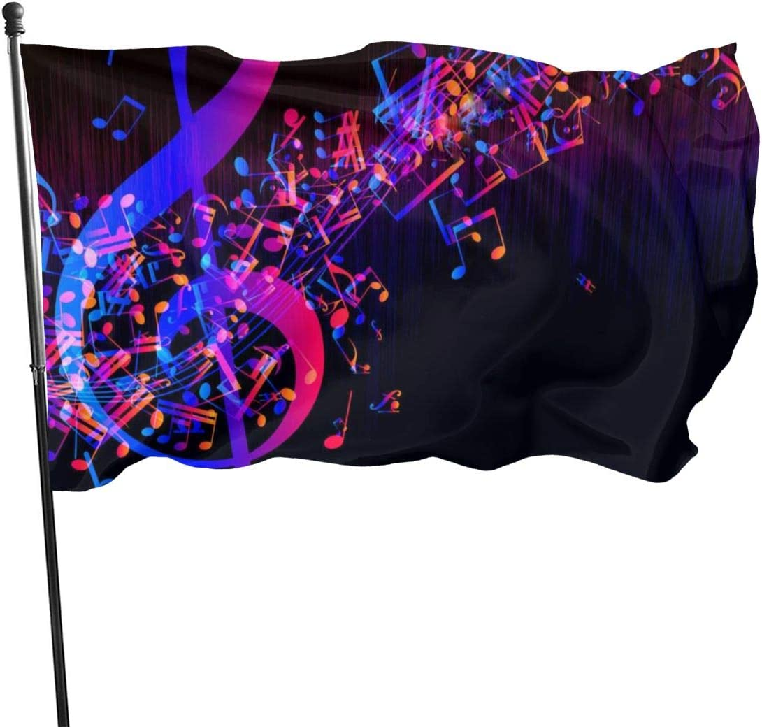 LAIUE Colorful Galaxy Music Note Garden Flag 3x5ft Vivid Color for Inside/Outside Use | UV Protected Garden Banner Flags Double Side Print