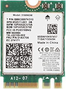 ASHATA Network Card, Wi-Fi Network Adapter Card for Intel Internet 3168NGW Wireless-AC Dual Band WiFi Network Card with Bluetooth 4.2