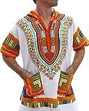 #1: Full Funk Dashiki Light Hoody In White Base Colors Festival Party Shirt Short Sleeve