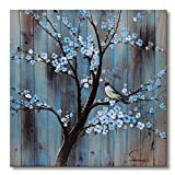 Sumeru Flowers Canvas Wall Art Paintings Abstract Flower Tree with Bird Artworks for Home Living Bedroom Office Decoration,1 Piece, 24x24 inch, Stretched and Framed