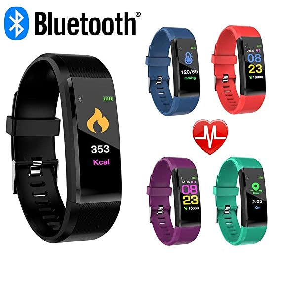 CNPGD Smartwatch Bracelet Fitness Tracker Sports Waterproof Color Touchscreen Heart Rate & Blood Pressure Monitor Pedometer Compatible for IOS IPHONE ...