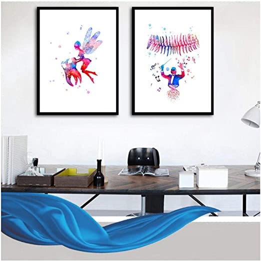 Dentist Art CANVAS Watercolor Print Tooth Teeth Anatomical Dental Office Medical