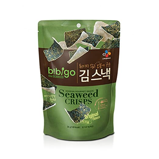 Korean Bibigo Original Baked Seaweed Crisps 36g (Pack of 2)