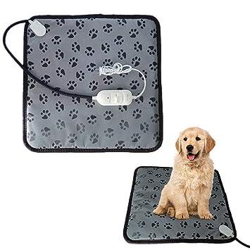 Guoyajf Almohadillas Calentadoras para Mascotas,45x45cm Actualizado Almohadilla Eléctrica para Calentar Camas De Perros Y Gatos Estera para Mascotas con ...
