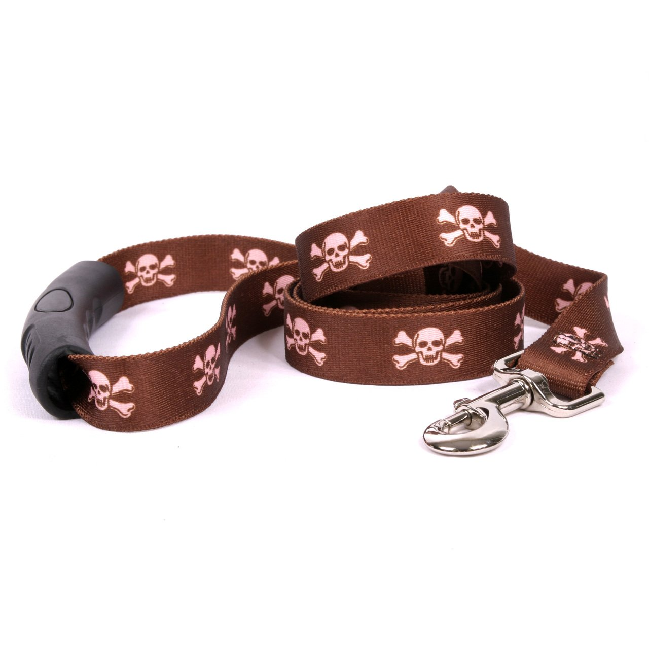 Yellow Dog Design Brown and Pink Skulls Ez-Grip Dog Leash with Comfort Handle 1'' Wide and 5' (60'') Long, Large