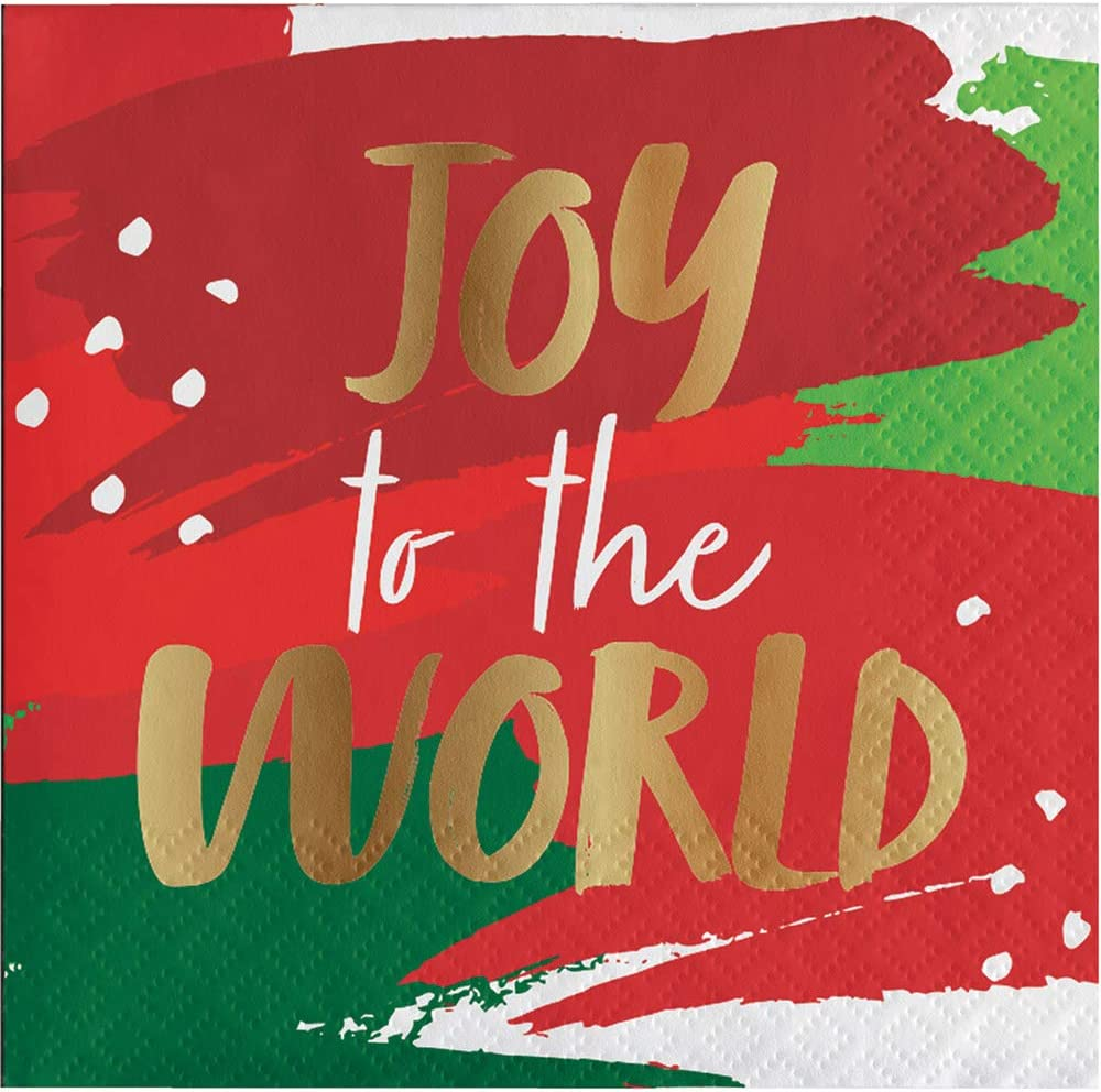 Creative Converting Joy to the World Beverage Napkins, One Size, Multicolor