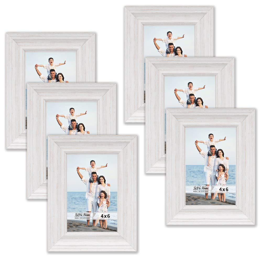 LaVie Home 4x6 Picture Frames (6 Pack, White Wood Grain) Rustic Photo Frame Set with High Definition Glass for Wall Mount & Table Top Display by LaVie Home