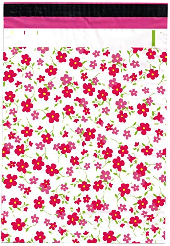 10x13 (100) Pink Flowers Designer Poly Mailers Shipping Envelopes Boutique Custom Bags By ValueMailers (10 X 13)