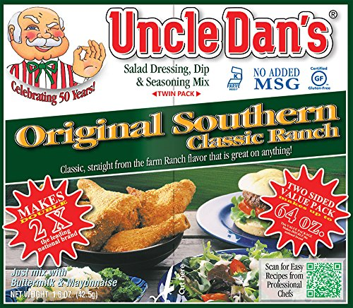 Uncle Dan's Dips, Seasonings and Salad Dressings Mix Packets - Ranch - For the Perfect Homemade Flavor in Your Dry Rubs, Pasta Sauces & Marinades | Twin Pack - 12 - Calories Valley Dressing Hidden Ranch