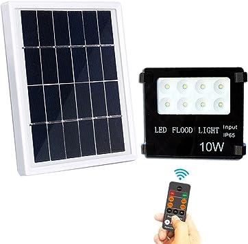 10 W 8 LED – Foco solar portátil Foco Luz Iluminación Exterior con Mando a distancia para jardín camping Pesca Auto Sombreros