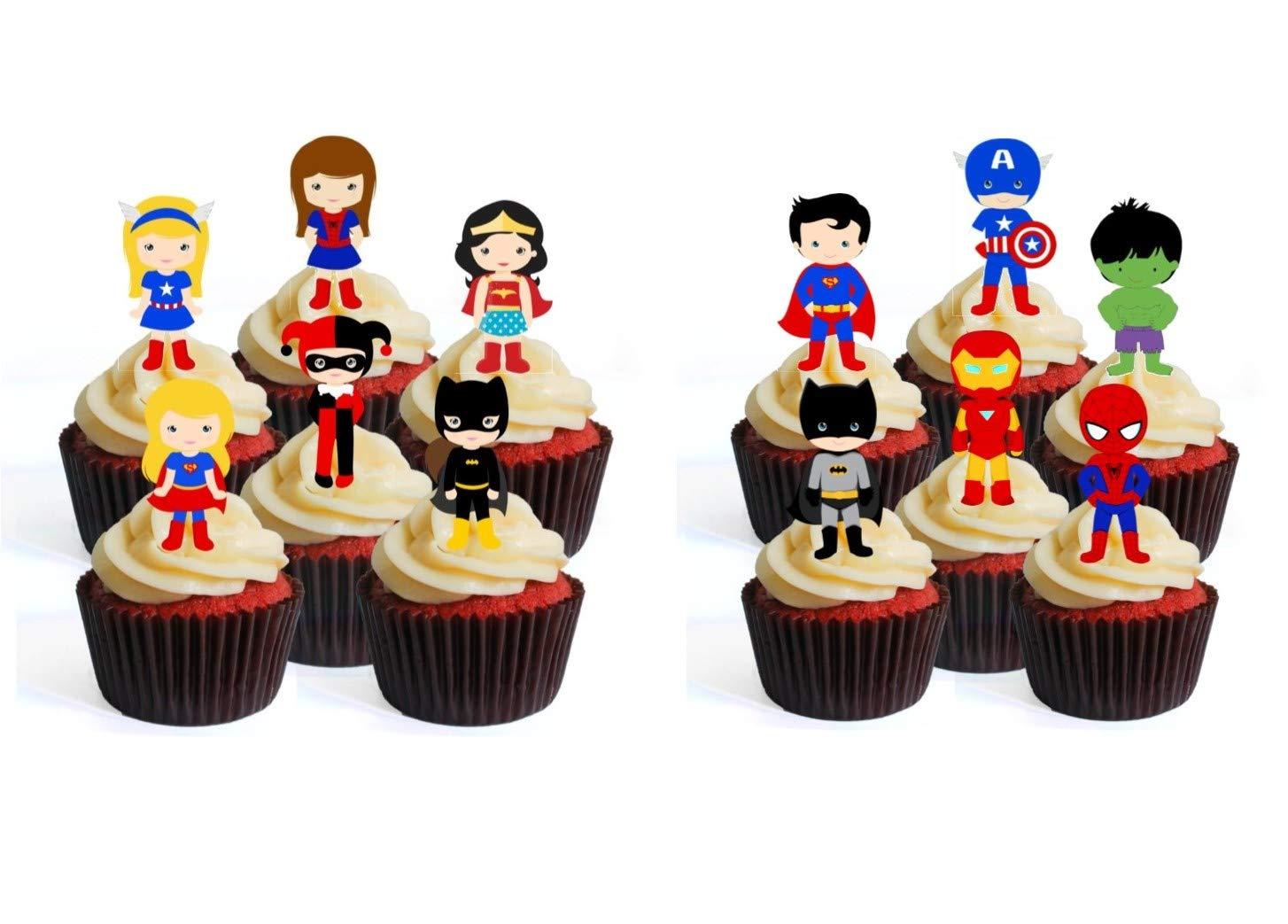 Superhero/ínas Cobertura para cupcakes comestible Decoraci/ón para tartas en oblea comestible 12 unidades