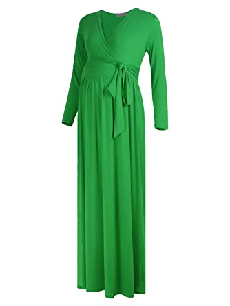 7a0ecf554c117 Black Cherry Women's Long Sleeve Maternity Nursing Front Tie Wrap Maxi Dress  Green