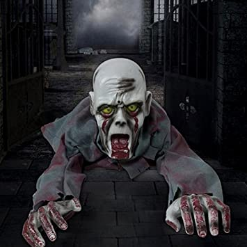 halloween props crawling zombie ghost skeleton animated scary haunted house bendable floor man room yard party