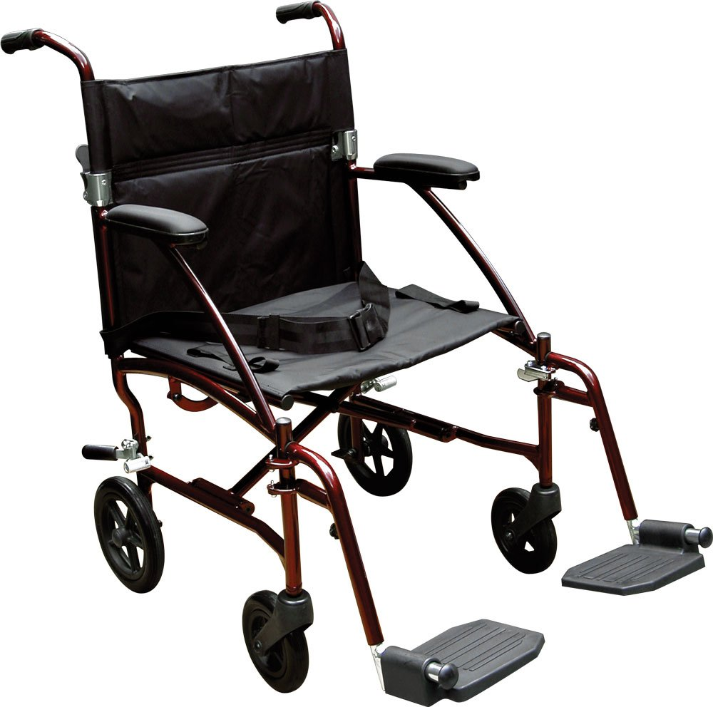 Drive Medical Fly Lite Ultra Lightweight Transport Wheelchair, Red Frame, 19''