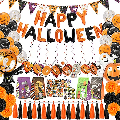 Large Halloween party decorations Kit for kids – 113Pack All in one Halloween Decoration kit Halloween Party Supplies Balloons Banner Decorations Pumpkin Foil garland Halloween Theme Party Background
