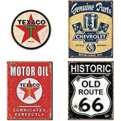 DE Sign Metal Signs for Garage Bundle - Texaco Logo Round, Chevrolet Genuine Parts, Texaco Motor Oil, Historic Old Route 66