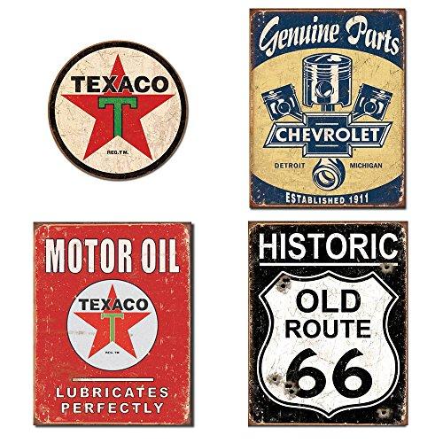 Metal Signs for Garage Bundle - Texaco Logo Round, Chevrolet Genuine Parts, Texaco Motor Oil, Historic Old Route 66