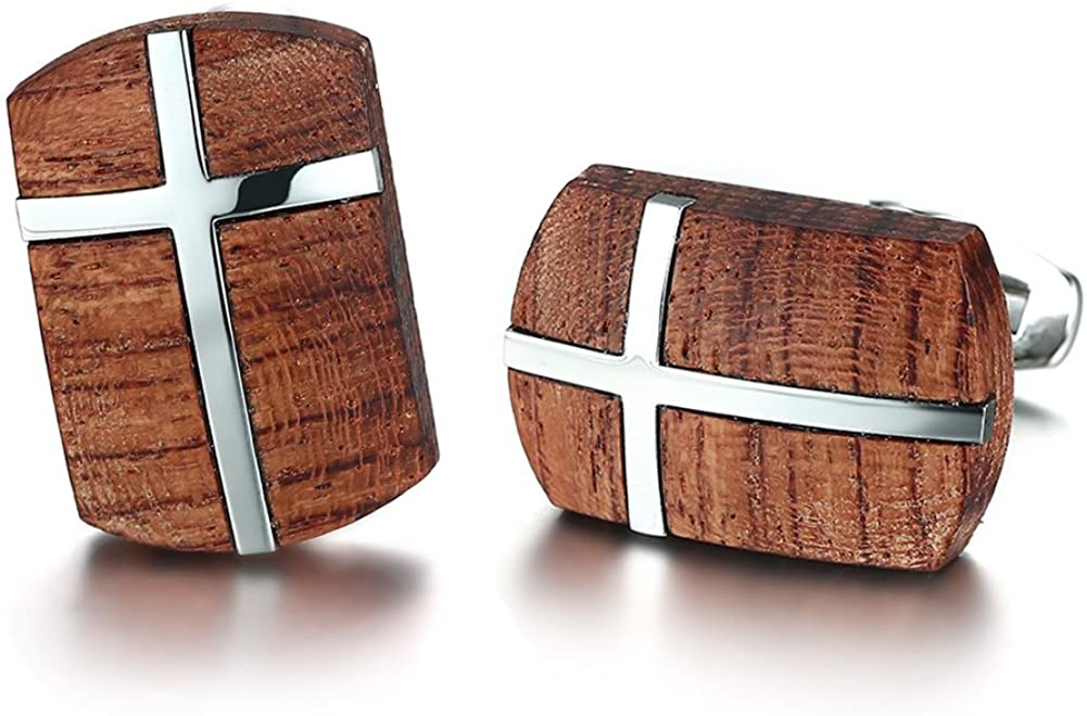 Mealguet Jewelry African Bubinga Wooden & Stainless Steel Cross Men's Wedding Wood Cufflinks, Bussiness Gift