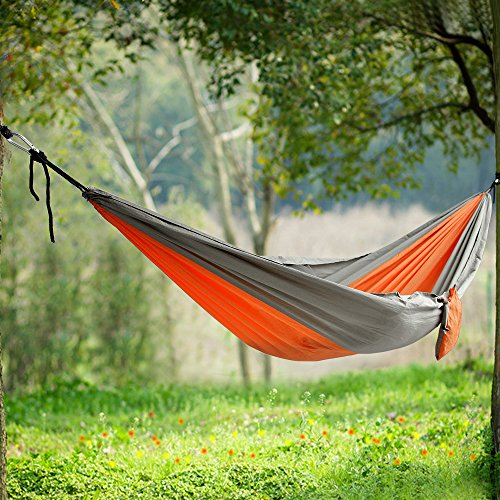 Songmics Portable Camping Hiking Backpacking Hammock Lightweight Quick-drying W' Tree Straps Side Bag Orange UGDC35A