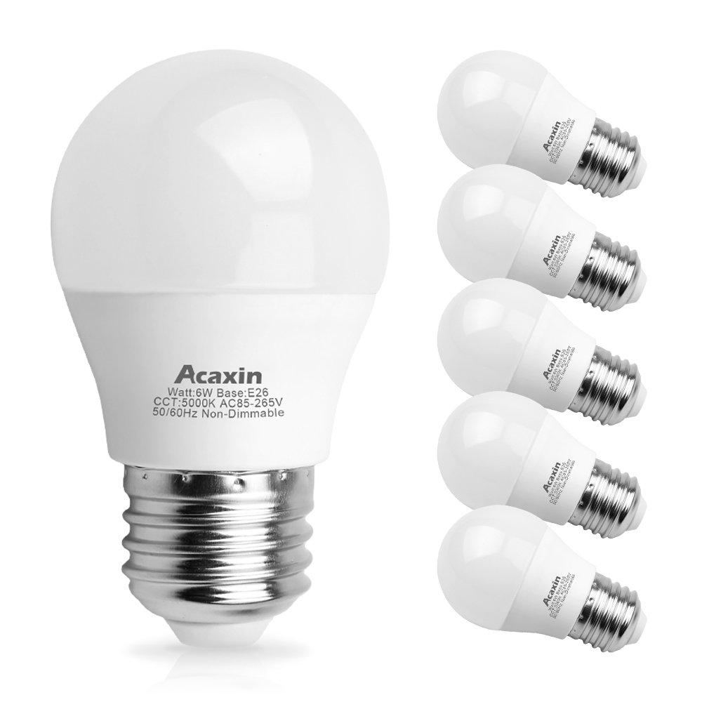 6W A15 LED Daylight Light Bulb 60 Watt Equivalent, Acaxin A15 LED Lights,Non-Dimmable E26 Medium Base Daylight 5000K 600 Lumen E26 LED Bulb for Home Lighting,6 Pack