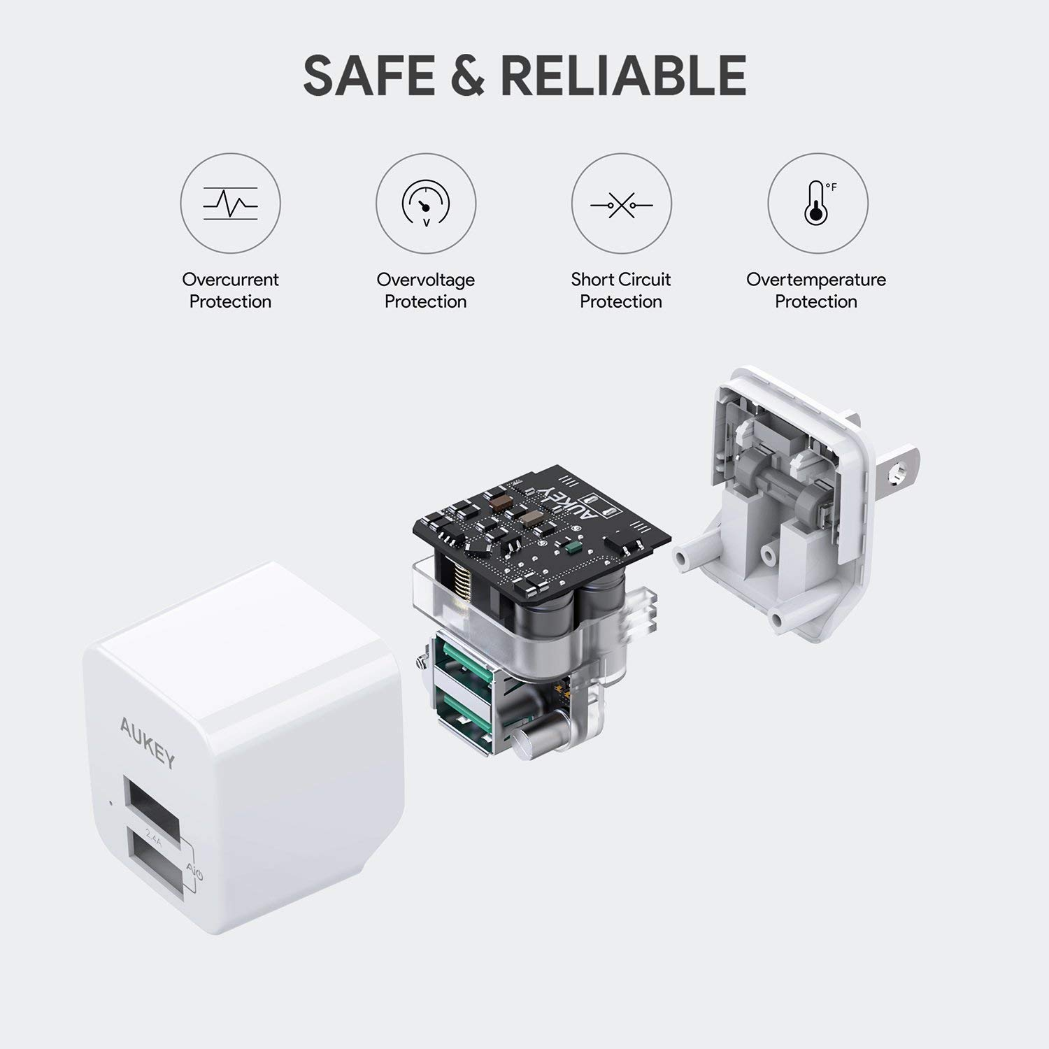 AUKEY USB Wall Charger, Ultra Compact Dual Port 2.4A Output & Foldable Plug, Compatible iPhone Xs/XS Max/XR, iPad Pro/Air 2 / Mini 4, Samsung, and More by AUKEY (Image #6)