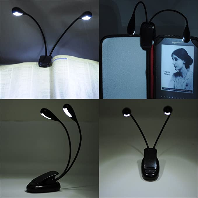 flexible 4 LED Leselampe sehr hell Reise Urlaub lesen Lampe Buchlampe Lich
