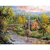 DIY Crystals Painting Kit 5D Resin Full of Diamond Painting By Number Kits House In Forest (30x40)CM/(12x15) Inches