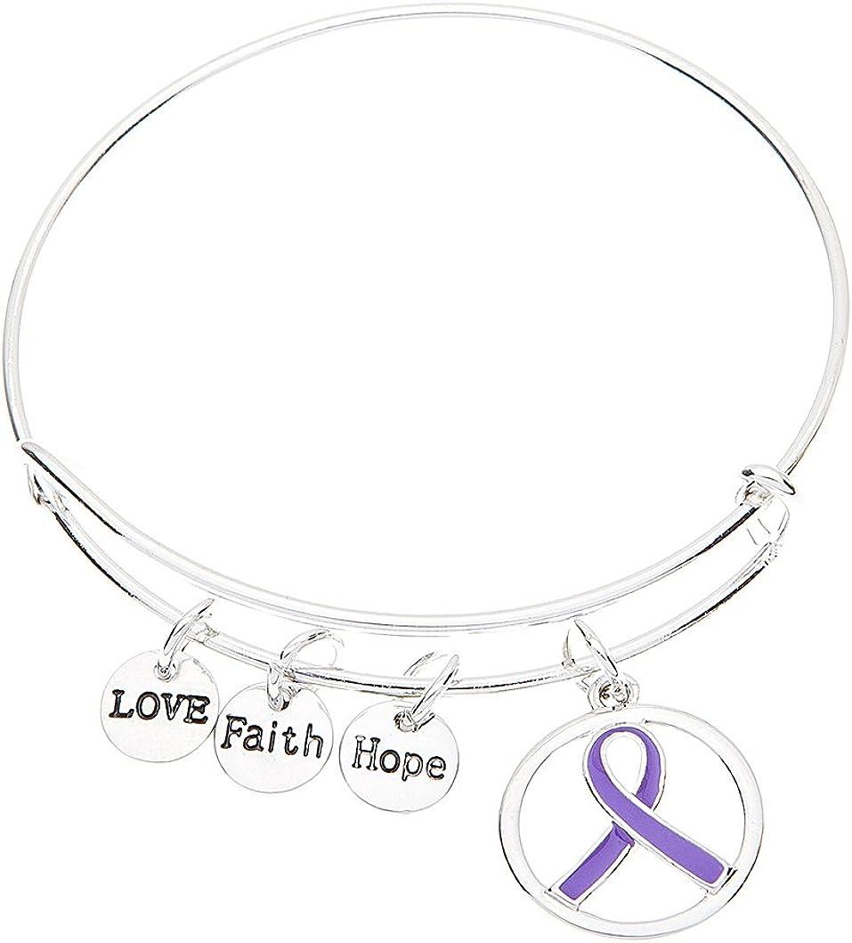 Purple Ribbon Bracelet, Pancreatic Cancer Bracelet, Purple Ribbon Awareness Bracelet, Gift for Women