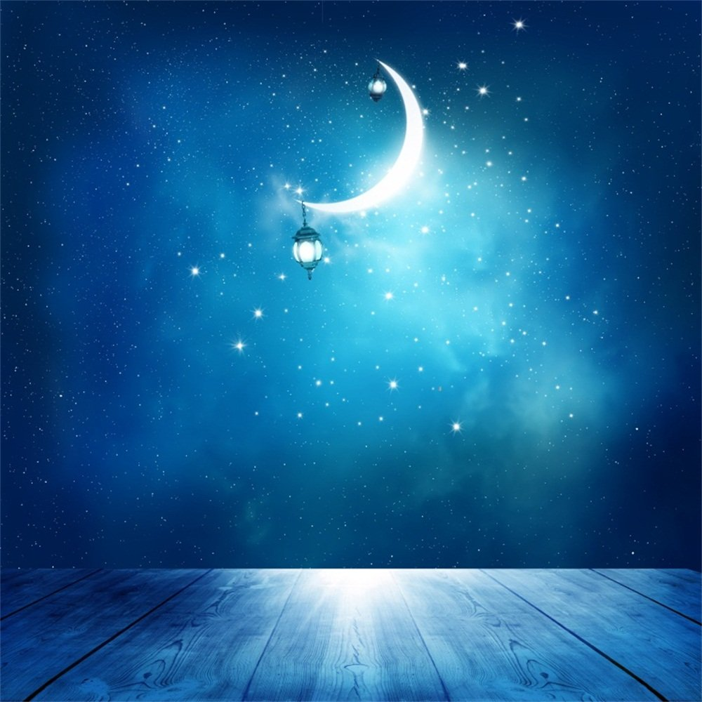 Laeacco 8x8ft vinyl backdrop photography background islamic greeting eid mubarak cards muslim holidays festival celebration background crescent moon sky
