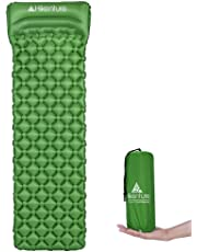 Hikenture Ultralight Sleeping Mat | Backpacking Sleeping Pad with Pillow-Compact Inflatable Camping Air Mattress Pad for Camping,Sleeping,Backpacking,Travel,Hiking,Hike Camp Air Pad (Army Green,Blue)
