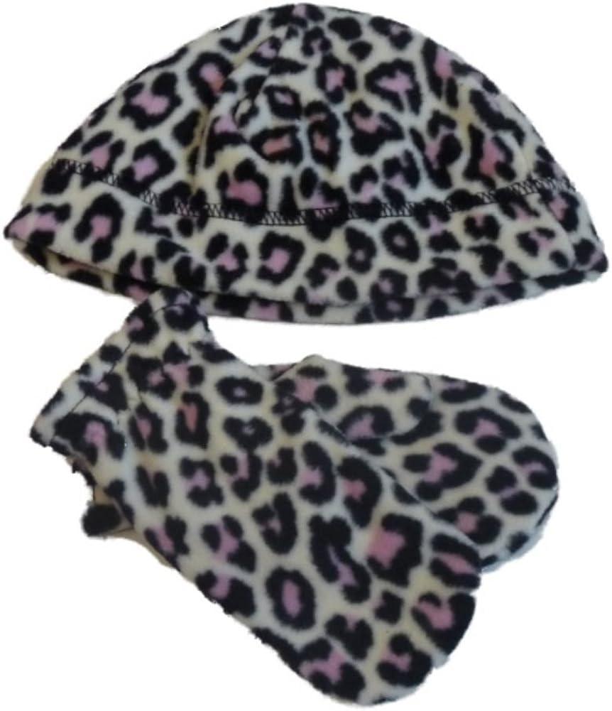 Faded Glory Toddler Cheetah Print Fleece Hat /& Mittens Set