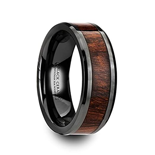 thracian black ceramic wedding ring with carpathian wood inlay and polished beveled edges comfort fit lightweight - Ceramic Wedding Rings