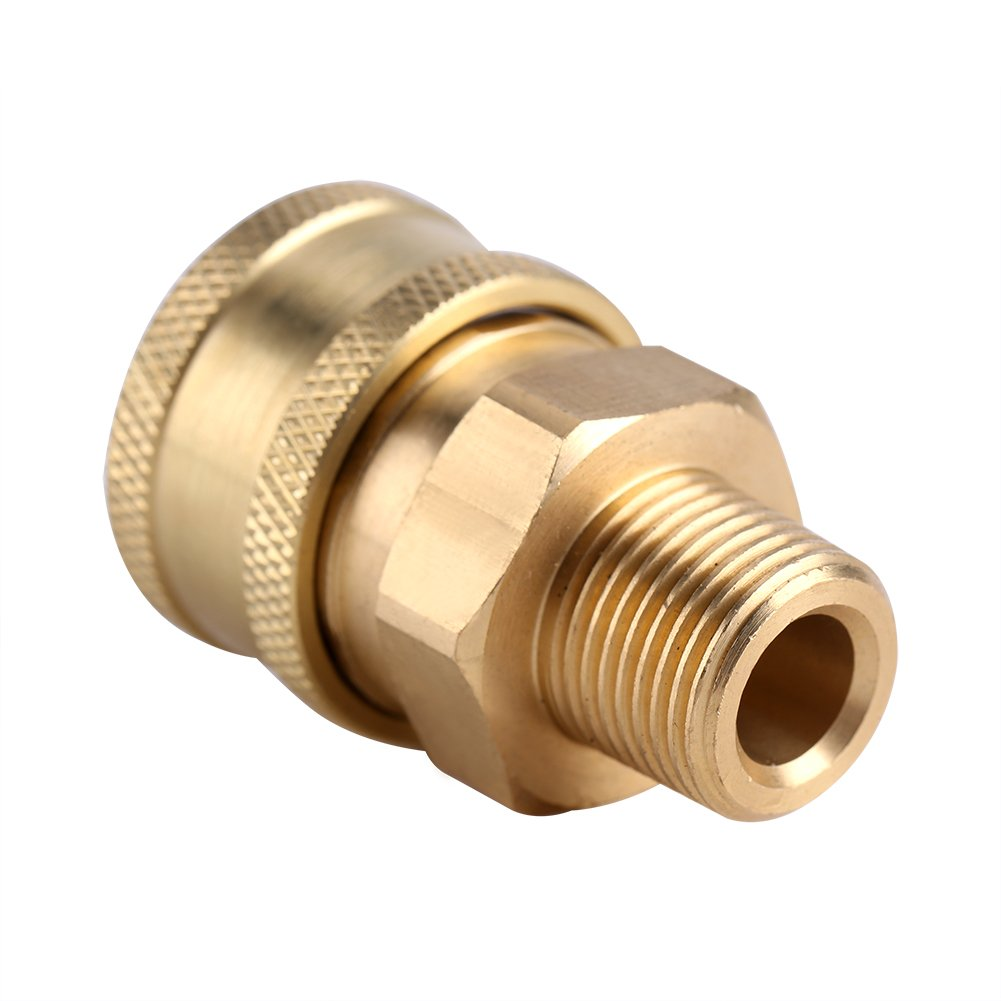 High Pressure Washer Hose Connector Coupler, 3/8 Inch Quick Release Adapter to M22 Metric Thread,Brass Zerodis