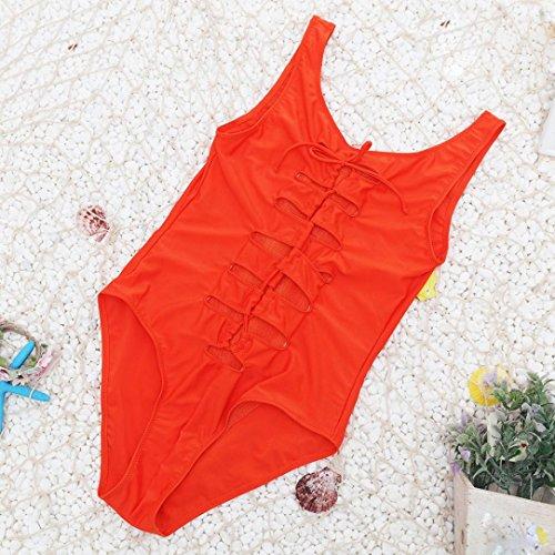 zolimx Traje de baño trajes de baño mujer baño playa desgaste vendaje impresión de traje de baño Bikini Naranja