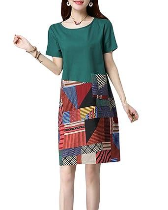 Damen Vintage Beiläufige Lose Leinen Baumwolle Kleid Sommerkleider ...