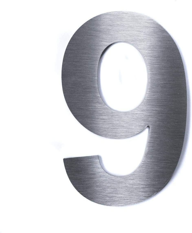 Hochwertige Edelstahl V2A Hausnummerklassisch grob geschliffen inkl Befestigung H/öhe: 280mm - Materialst/ärke: 3mm, 7