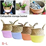 PROKTH Cheng-store Collapsible Sea Grass Handmade Knitted Flower Basket