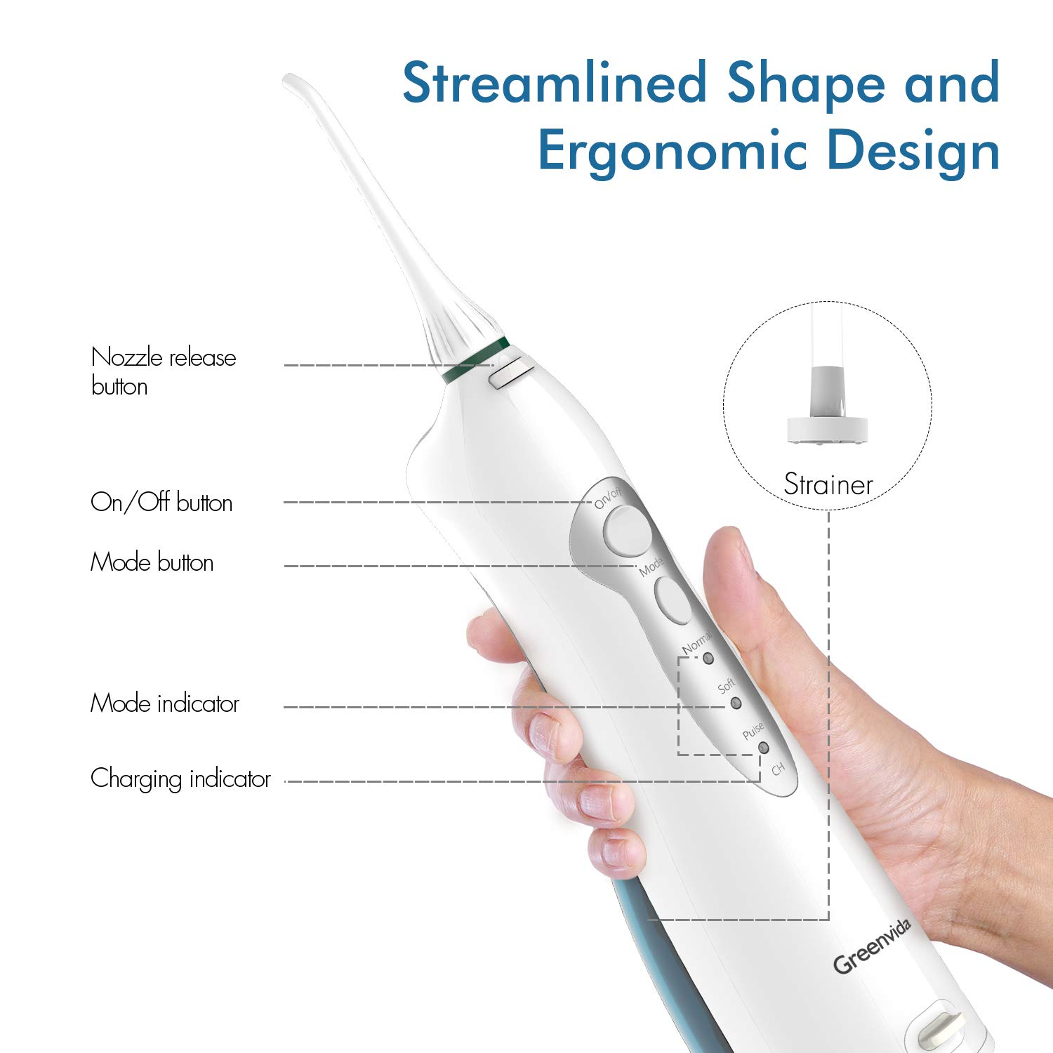 Electric Water Flosser Cordless Dental Oral Irrigator,Water Flosser Portable Rechargeable With 3 Modes & 4 Jet Tips,Electric Oral Irrigator IPX7 Waterproof for Kids and People with Braces by Greenvida (Image #3)