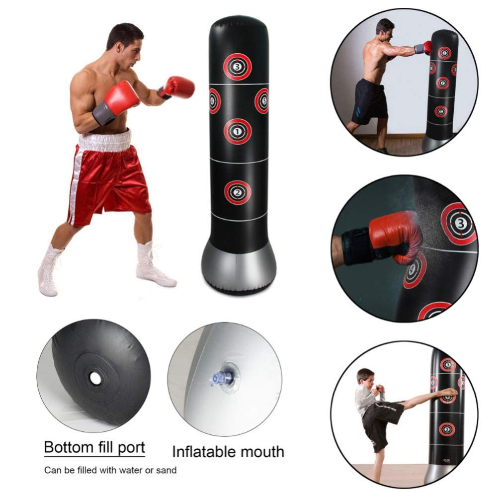 Wolfsport Fitness Punching Bag Heavy Punching Bag Inflatable Punching Tower Bag Freestanding Children Fitness Play Adults De-Stress Boxing Target Bag 5.25ft by Wolfsport