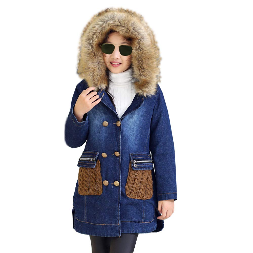 Kids Big Girls Winter Hooded Fur Collar Thick Denim Jacket Coat Outwear (5-6Years, Blue)
