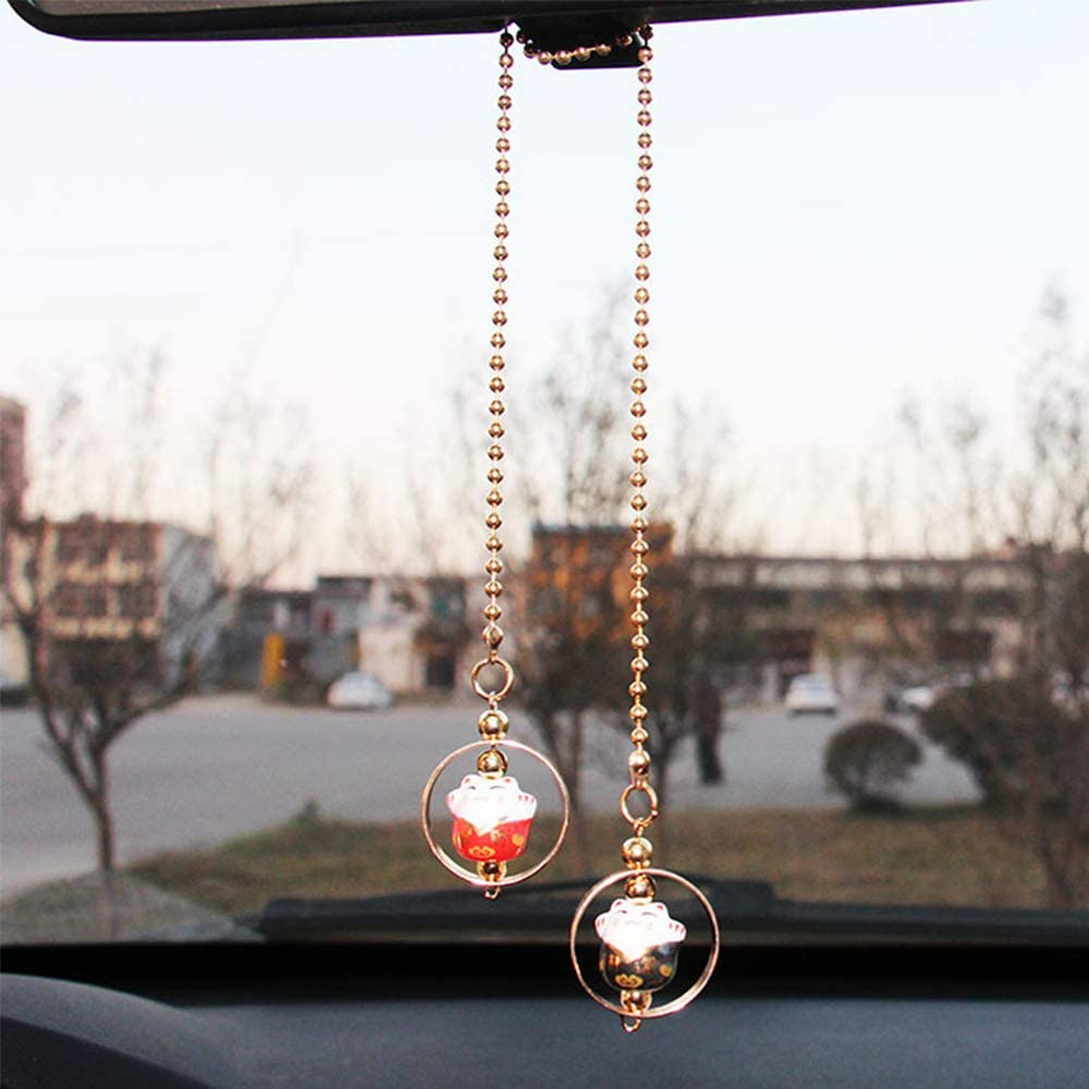 HerMia Lucky Crystal Ball Interior Accessories Car Charms Pendants for Auto Rear View Mirror Hanging Decoration Home Decor with Tassel