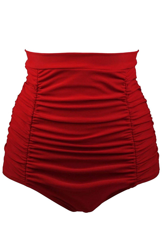 Samefar Womens Tankini Retro High Waisted Bikini Bottom Ruched Swim Board Shorts for Women Swim Large Red