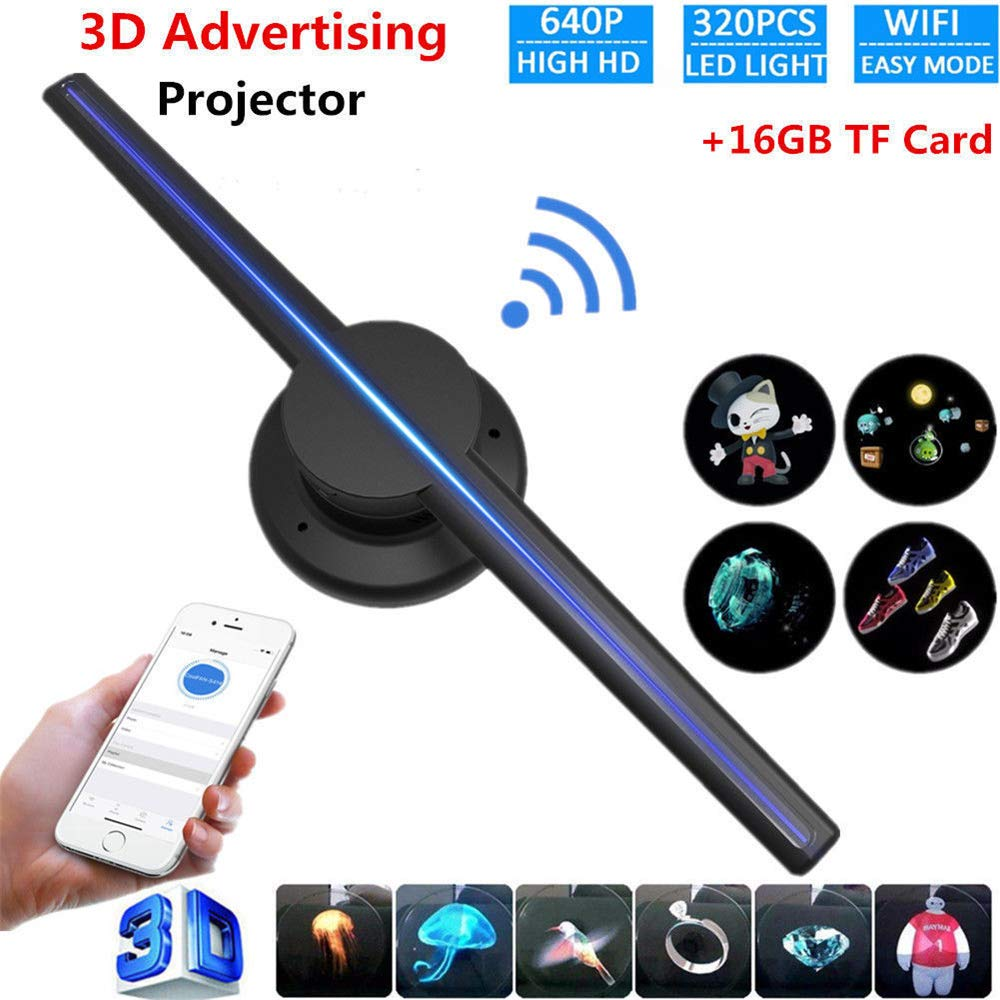Portable 3D LED Holographic Display LED Fan Hologram Projector Visual Effects