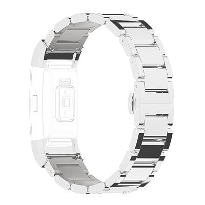 Bracelet Fitbit Charge 2, Bracelet Charge 2 Acier Rosa Schleife® Fitbit Charge 2 bracelet acier inoxydable Métallique en céramique Sport straps Replacement Accessories papillon Fermeture Boucle pour Fitbit C